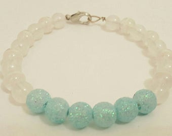 Mint green and white bracelet, green and white bracelet, mint green bracelet, beaded bracelet, white beaded bracelet, green bracelet, teal