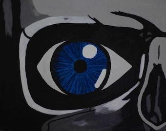 Skull Blue Original 11 x 14 Acrylic on Canvas