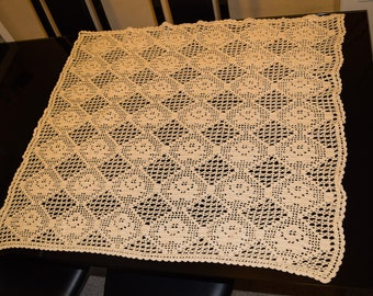 Crocheted Lace Tablecloth, Handmade Home Decor, Crochet pattern, Vintage Crochet lace, Square Tablecloth ; Hand Sewn Vintage Tablecloth