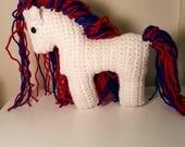 Americana White  Crochet Horse Plushie