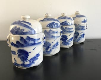 Vintage Chinese Ginger Pots,Ginger Jar, Blue And White Pottery, Oriental Porcelain, Asian Decor, Home Decor Kitchen, Storage, Bowl,Tea Caddy