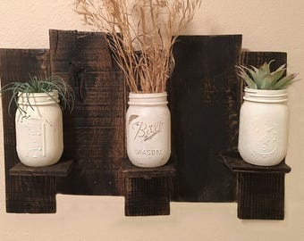Mason Jar Sconce - Reclaimed Wood