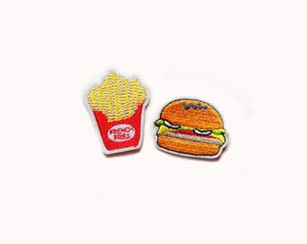 2x Hamburger + French Fries PATCHES  Iron On Embroidered Applique meat sandwich lettuce tomatoes bun delicious yummy american food