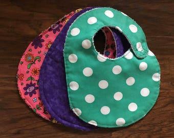 3 Pack Girl Bibs, Baby Shower Gift, Teal Polka Dot Bib, Purple Watercolor Bib, Pink Flower Bib, Baby Branch Boutique