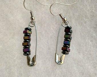Safety pin, purple beads