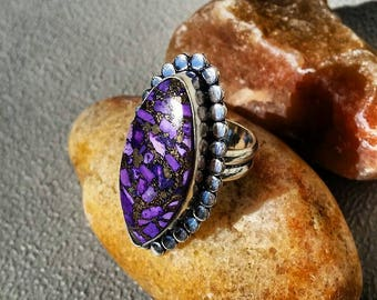 Purple Copper Turquoise 8 1/4 Sterling Silver Blue Natural Gemstone Rings