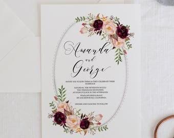 Printable Wedding Invitation Suite, Marsala Wedding Invitation Template, Floral Watercolor Invites