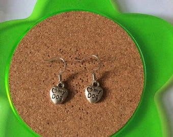 Handmade love my dog dangle earrings