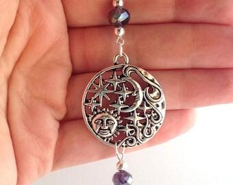 Celestial Suncatcher // Cosmic // Purple Iridescent Glass Beads