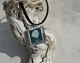 Vintage Stamp Glass Soldered Pendant Necklace