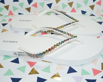 White Flip Flops Embellished With Color Change Rainbow Crystals