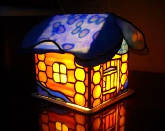 "Night lamp ""Forest hut"". Stained glass house. Stained glass table lamp"