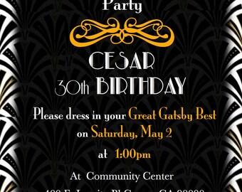 Great Gatsby Birthday Invitation