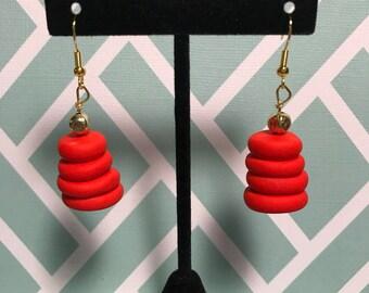 Bright red disc dangle earrings