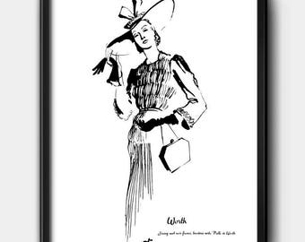 Worth · 1930s · Instant Download · Fashion · Illustration · Vintage · Printable #137