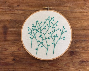 "6"" Green Plant Embroidery"