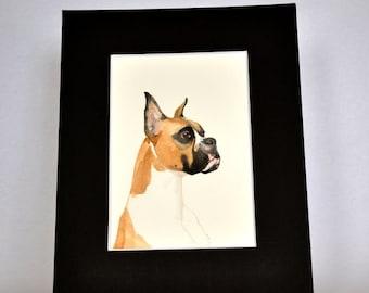 Original Watercolor Boxer Dog