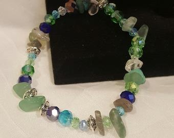 Green and Dark Blue Stretch Bracelet