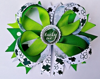 Lucky You Shamrock St. Patrick's Day Stacked Spike Boutique Bow with Bottle Cap