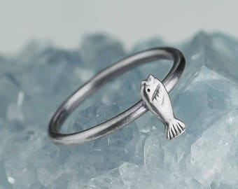 Sterling Silver Little Fish Ring Solid .925 Fishing Rings Custom Sizes