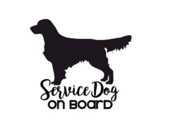Service Dog on Board | Golden Retriever | 5in Vinyl Decal | ICE Sticker | In Case of Emergency
