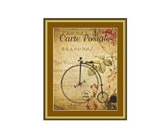 Pennyfarthing cross stitch chart, instant PDF digital download counted cross stitch pattern.
