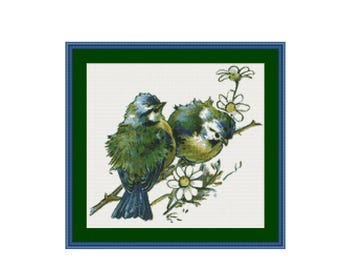 Bluebirds  cross stitch pattern, instant PDF digital counted cross stitch chart