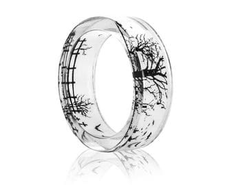 transparent clear  resin ring black tree and bat inside
