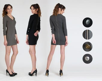 New!!! Back-Zip Shift Mini Dress / Casual Dress / Long Sleeve Mini Dress / Grey / Black / Cappuccino /