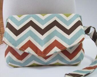 Small Multi-Color Chevron Clutch, Wristlet, Makeup Bag, Purse