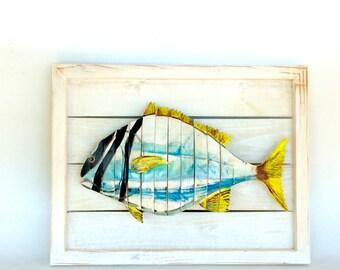 Yellow stripes Porkfish sculpture