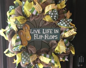 SALE***Beach Wreath/Flip Flops/Coastal Wreath/Summer/Nautical/Year Round Wreath