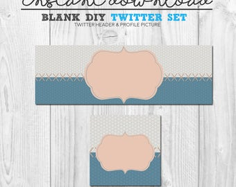 instant download blue grey twitter set, premade twitter design set, twitter cover image pack, blank diy twitter banner, diy social media set