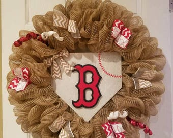 Boston Red Sox wreath, Red Sox wreath, Baseball wreath, Red Sox, Boston Red Sox, Baseball decor