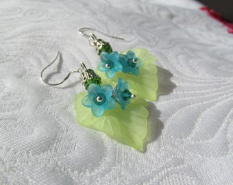 Flowers and leaves summer earrings