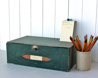 Office Filing Drawer - Vintage Desktop drawer - French-Late 19th Century - Early 20th Century - desktop storage - stationery