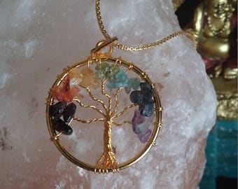Tree of life wire wrapped gemstone pendant