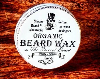 15ml Organic Beard and Moustache Wax by Revered Beard.  Premium Quality Wax, ideal for hipster Styling with twists, curls and points