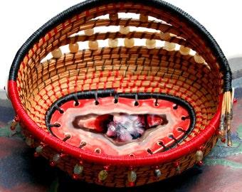 Fiesta Pine Needle Basket
