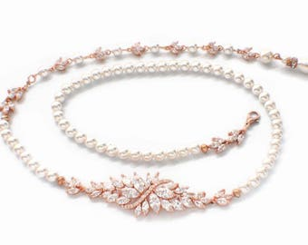 Bridal backdrop necklace, rose gold, Swarovski pearl, wedding necklace, pearl wedding accessory, cubic zirconia necklace, pearl crystal