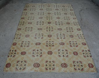 Turkish Cream Oushak Pale Area Rug  5.5 x 8.8 Ft