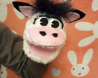 Cow sock puppet