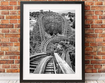 Nara Dreamland, abandoned theme park, rollercoaster, Japan theme park, black and white photography