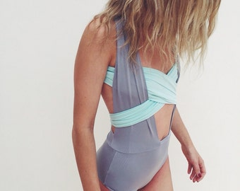 Multiway Swimsuit - Grey and Minty Blue