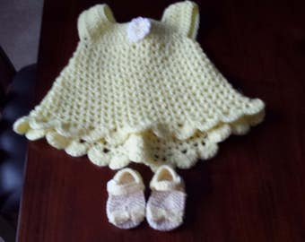 Baby dress and sandals size 0-3 mos