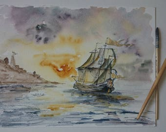 Original watercolor of a boat, original painting of an old sailboat in the sunset,gold yellow