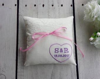Embroidered ring pillow, custom ring bearer pillow,