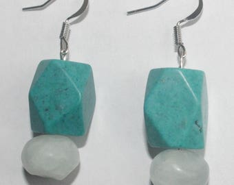Southwestern Turquoise Edged Dangle Earrings