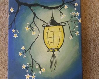 Lantern hangin on tree 14x11 acrylic painting