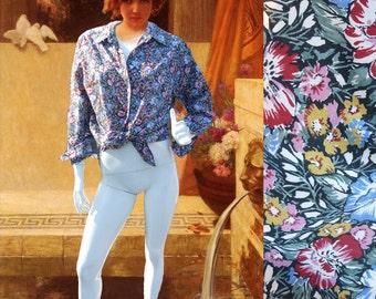 cacharel floral printed vintage 80s blouse